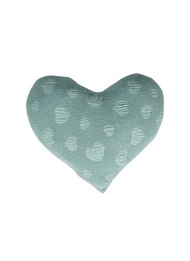 Cigit Cıgıt Jakarlı Kalp Desen  Kırlent Yeşil